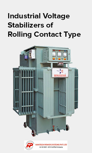 An image of an industrial voltage stabilizer of rolling contact type for industrial power usage.