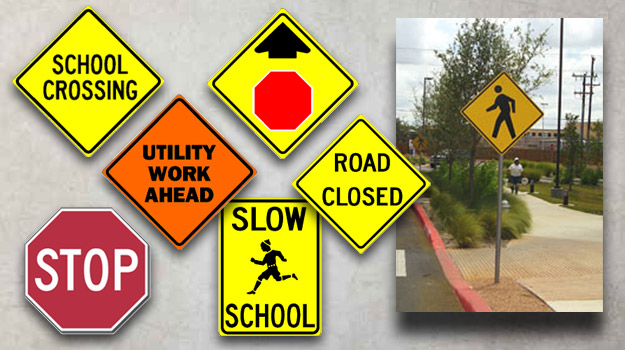 Picture Representing Various Signage For Traffic Control And Safety Signs.